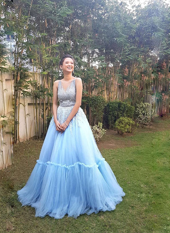 Sky blue tulle long prom gown, sweet 16 dress