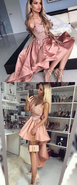 Pink v neck lace short prom dress, high low evening dress
