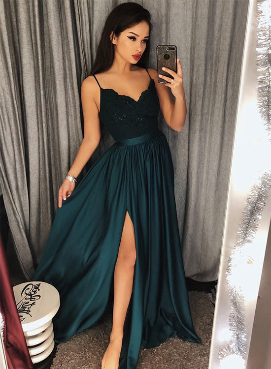 Dark green v neck long prom dress, lace evening dress