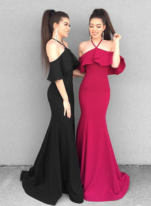Simple satin long prom dress, mermaid evening dress
