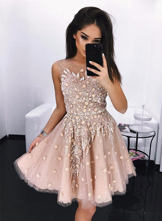 Champagne short prom dress, cute evening dress