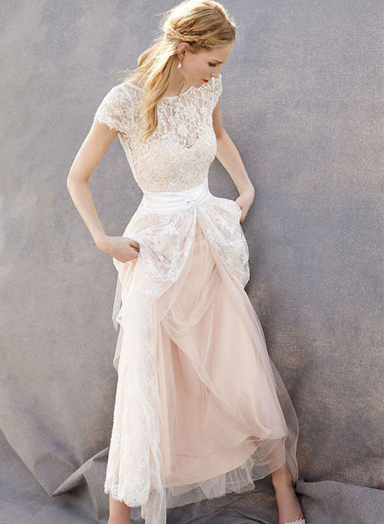 Elegant A line lace long prom dress, lace evening dress