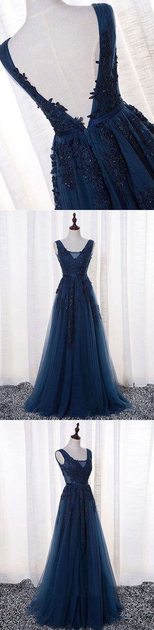 Dark blue v neck tulle long prom dress, lace evening dress
