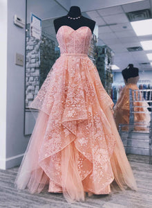 Pink sweetheart neck lace long prom dress, pink evening dress