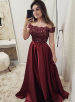 Burgundy lace satin long prom dress, burgundy evening dress