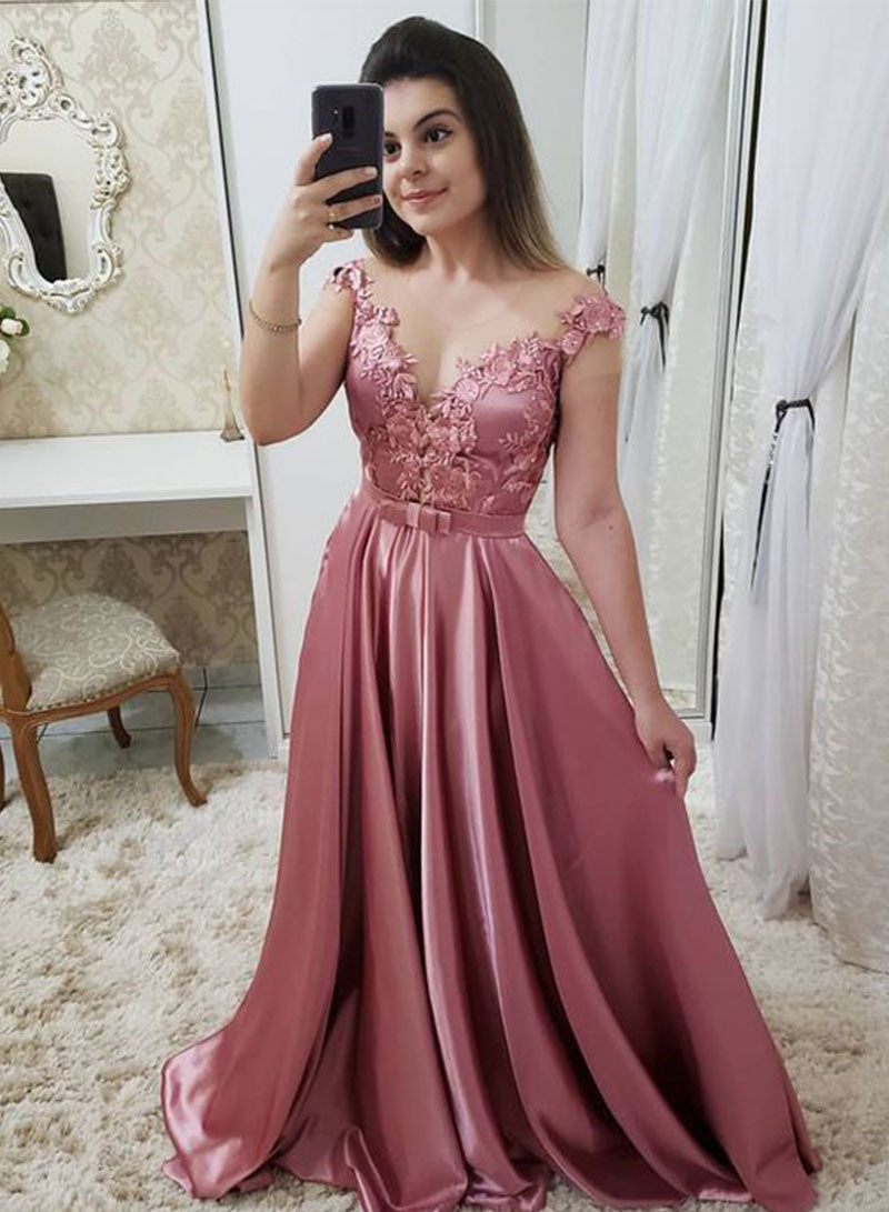 Pink satin lace long A line prom dress evening dress