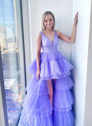 Purple v neck tulle high low prom dress evening dress
