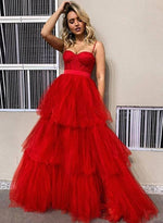 Red tulle long prom dress red evening dress