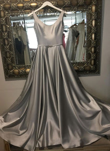 Dark gray satin long pro dress, evening dress