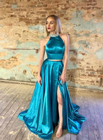 Blue two pieces satin long prom dress, evening dress