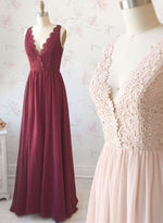 Custom made v neck lace chiffon long prom dress, evening dress