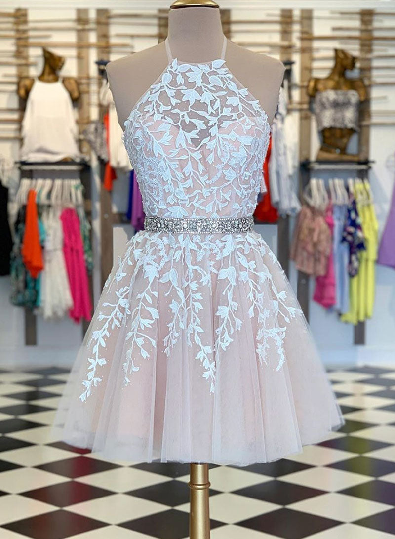 Cute lace tulle short prom dress cocktail dress