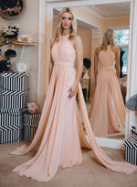 Unique pink chiffon round neck long prom dress, pink evening dress