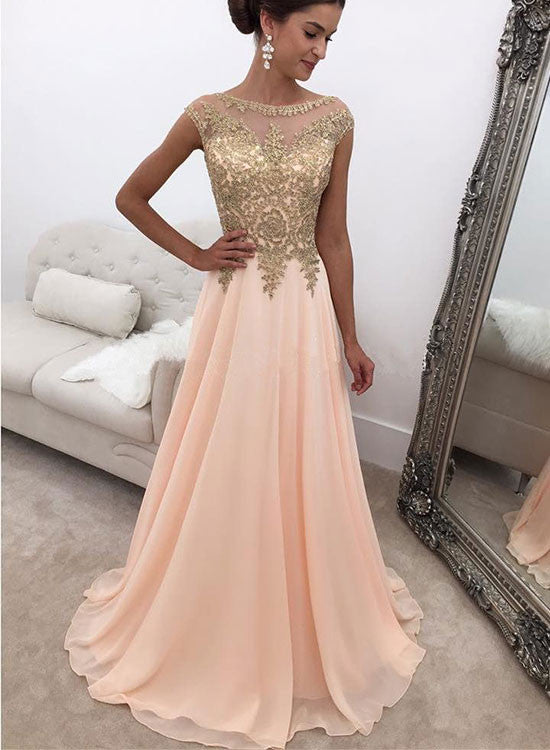 Elegant A line pink chiffon long prom dress, pink evening dress