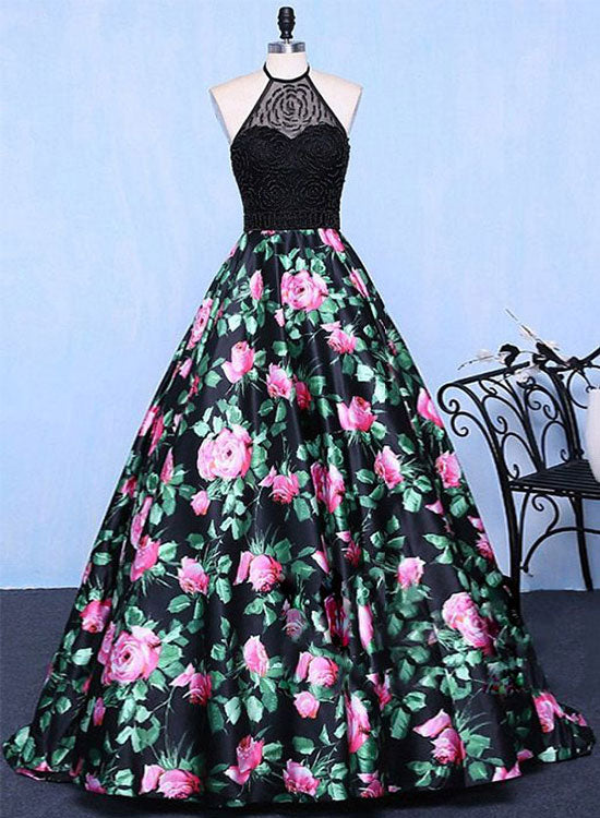 Stylish A line floral pattern long prom dress, formal dress – trendty