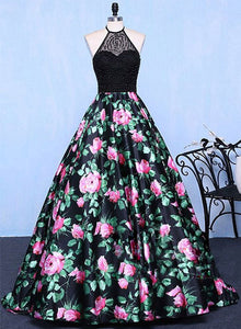 Stylish A line floral pattern long prom dress, formal dress