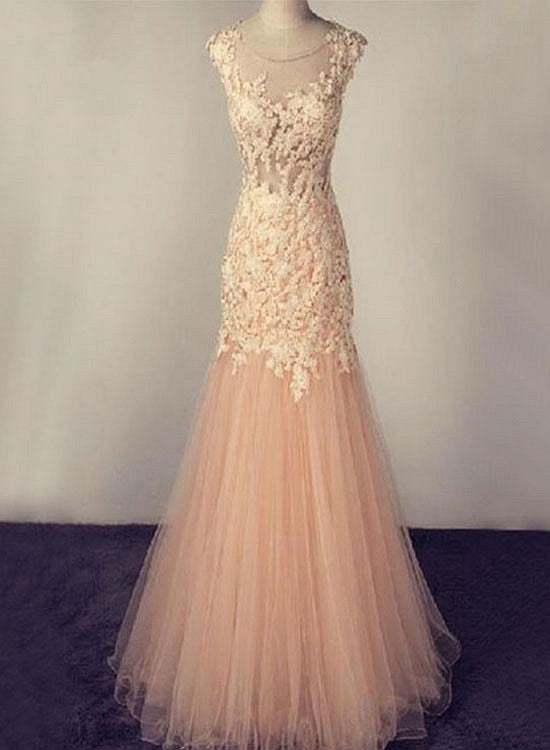 Champagne tulle lace long prom gown, mermaid evening dress