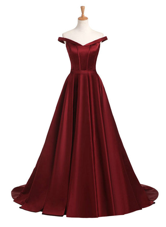 Burgundy v neck long prom dress, burgundy evening dress