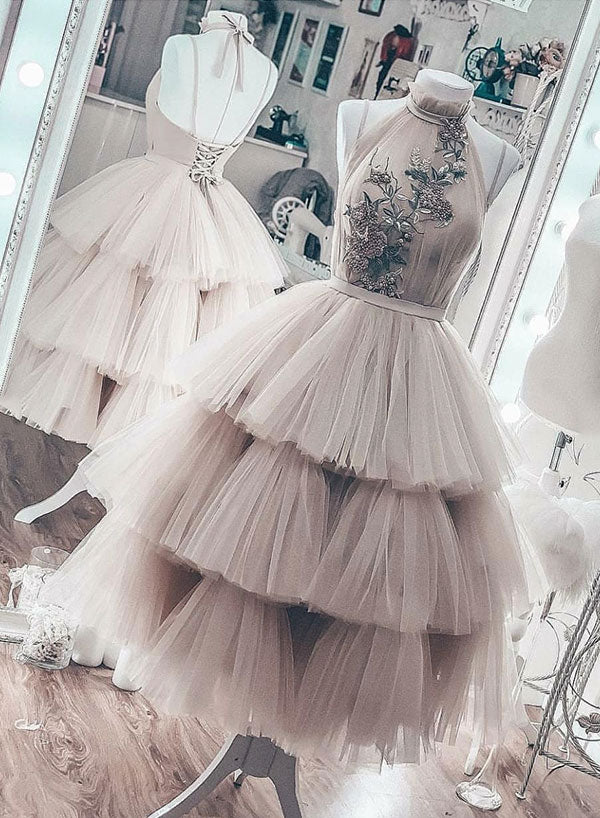 Cute round neck tulle lace short prom dress, homecoming dress