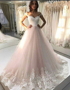 White A line tulle lace long prom gown, wedding dress