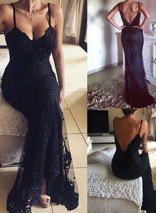 Black v neck lace long prom dress, mermaid lace evening dress