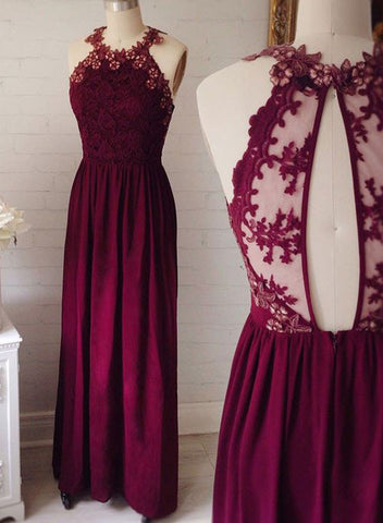 Burgundy A line  lace long prom dress, burgundy formal dress