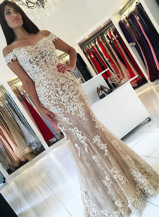 Mermaid lace off shoulder long prom dress,lace evening dresses