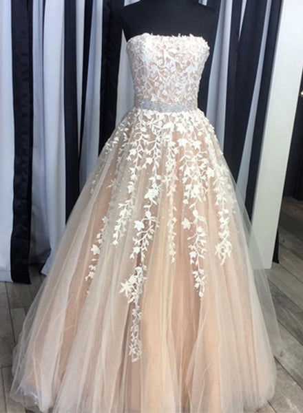 White lace long prom dress, lace evening dresses