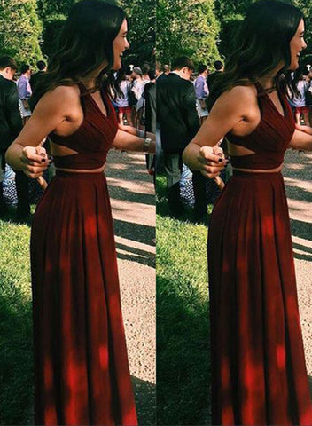 Burgundy two pieces chiffon long prom dress, burgundy evening dresses