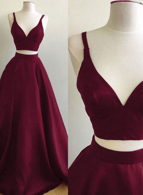 Burgundy two pieces long prom dress, burgundy evening dresses
