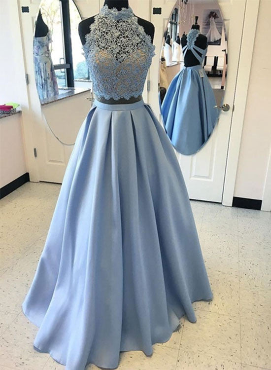 Light blue lace long prom dress,two pieces evening dresses