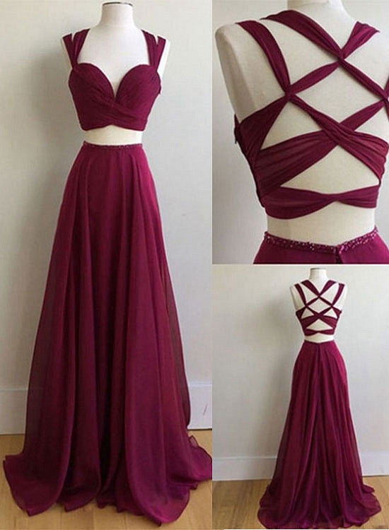 Burgundy chiffon two pieces long prom dress, burgundy evening dresses