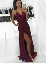 Simple burgundy v neck long prom dress,burgundy evening dresses