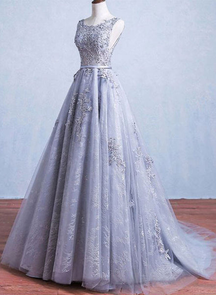 Custom made round neck tulle lace long prom gown, gray formal dress