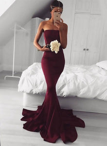 Burgundy mermaid strapless long prom dress, burgundy evening dresses