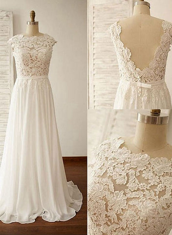 White round neck chiffon lace long prom dress, wedding dresses