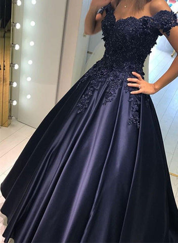 Dark blue lace off shoulder long prom dress, evening dresses