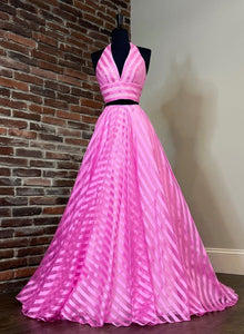 Pink stripe prom dress two pieces evening dress