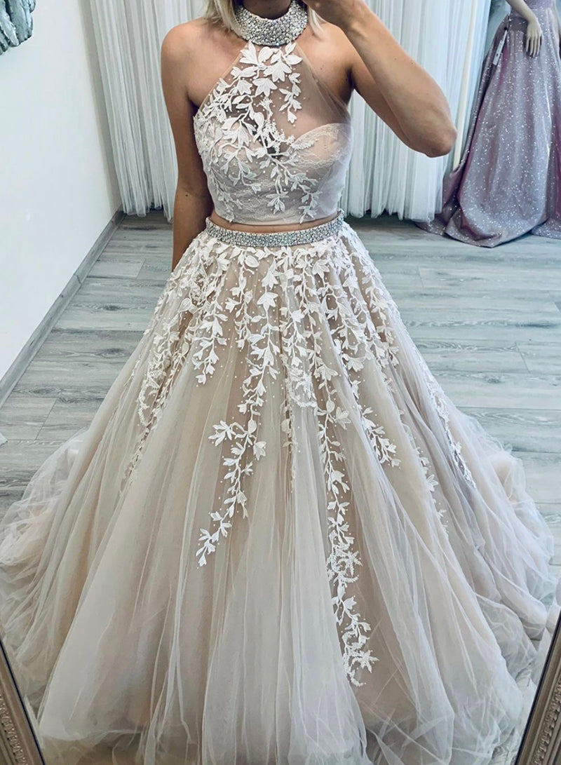 Two pieces tulle lace prom gown formal dress