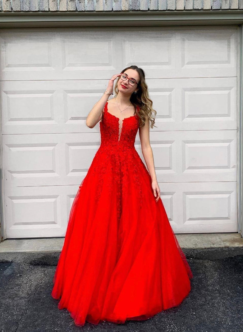 Red tulle lace long prom gown formal dress