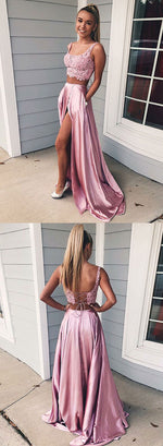Pink lace two pieces long prom dress, pink evening dress