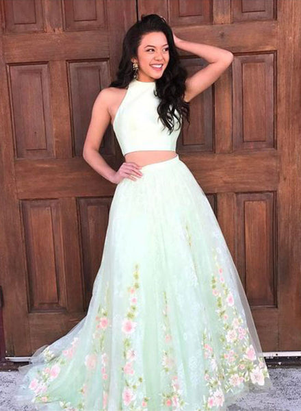 Mint green two pieces lace long prom dress, formal dress