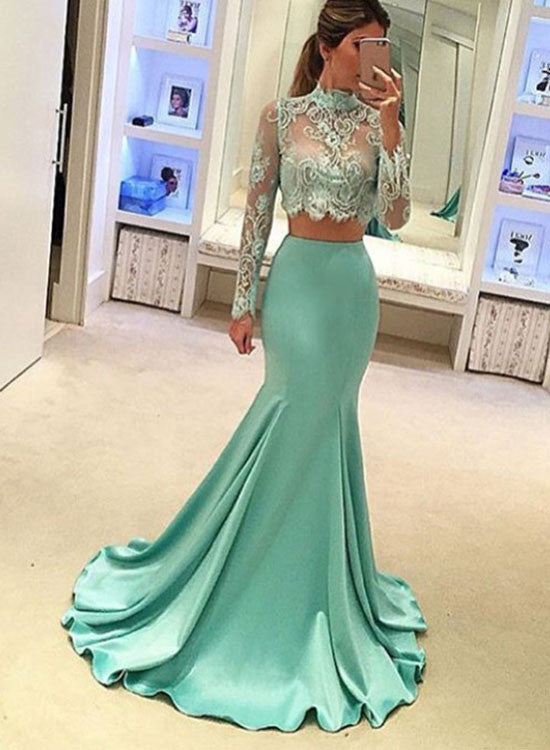Stylish round neck lace two pieces long prom dress, formal dresses