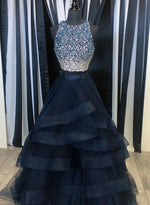 Dark blue two pieces long prom dress, evening dresses