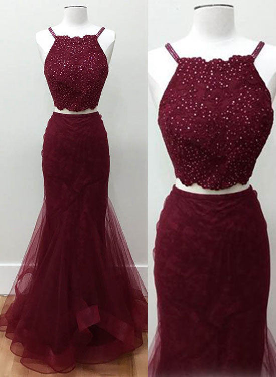 Burgundy mermaid two pieces long prom dress, burgundy evening dresses