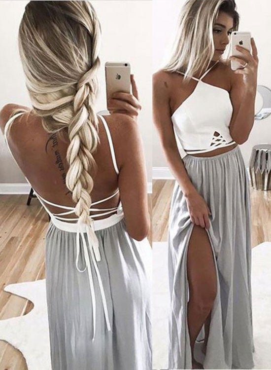 Simple A line two pieces backless long prom dress, evening dress