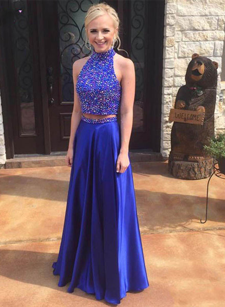 Attractive royal blue prom dress, two pieces beading long prom gowns