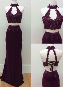 Stylish lace two pieces long prom dress, lace evening dresses