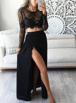Stylish black lace long sleeve prom dresses for girl, two pieces evening dresses