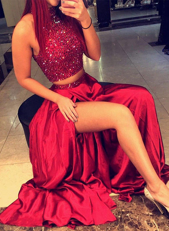 Red two pieces beading long prom dress, red formal dresses